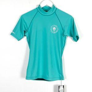 Billabong Wetsuits Teal Rash Guard Shirt Large NWT